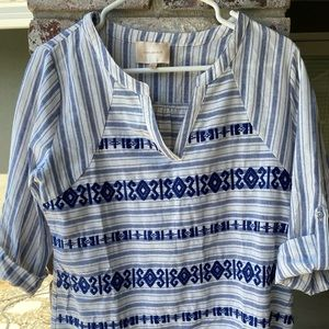 SKIES ARE BLUE Stitch Fix Boho Stripe Blouse Top M